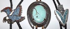Vintage Turquoise Bolo Tie LOT Eagle Arrowhead Silver tone