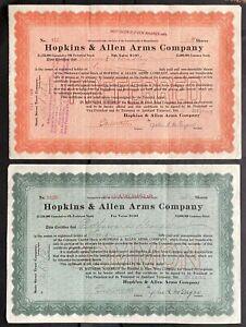 HOPKINS & ALLEN ARMS CO. Stocks 1915 (Lot of 2) Norwich, CT. Common & Preferred