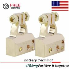 NEW CAR STEREO PLATINUM NICKEL BATTERY TERMINAL CLAMP DUAL 1/0 2 4 8 GAUGE AWG S