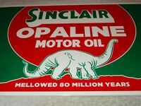 "VINTAGE SINCLAIR OPALINE MOTOR OIL W/ DINO THE DINOSAUR 12"" METAL GASOLINE SIGN!"