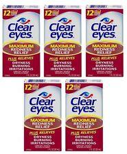 5 Pack Clear Eyes Maximum Redness Relief Eye Drops 1 oz Each