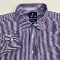 Stafford Button Up Shirt Men's Size 17.5 Long Sleeve Purple White Striped