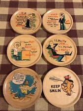 Set Of 6-Wooden Coasters-Novelty Funny Vintage Retro Round Japan 1950's 1960's