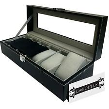Watch Box Display Case Organizer - 6 Slot Luxury Set by Cas De'Lux