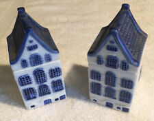 Lot Of 2 Figi's 1992 Blue & White House & Lid Decorative Accents For Blue Dishes
