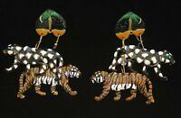 LUNCH AT THE RITZ SAFARI ANIMALS DANGLE EARRINGS PIERCED RHINESTONES ENAMEL