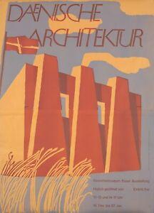 Original Vintage Poster Dänische Architektur Danish Architecture Basel 1951