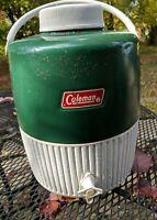 Coleman 2 Gallon Green White Water Jug  Cooler Metal Plastic Vintage 1982