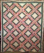 Vintage Cottage Farmhouse Handmade Patchwork Quilt Irish Chain Postage Stamp