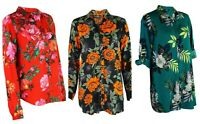 Womens Ladies Blue Chameleon Green Red Black Floral Print Longline Blouse Shirt