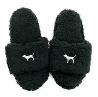 VICTORIAS SECRET PINK Sherpa Dog Cozy Slides Slippers Black S M L Choose Size