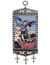 """Archangel Saint Michael Icon 9 3/4"""" Textile Tapestry Banner Religious Wall Art"""
