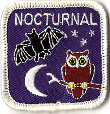 """""""Nocturnal"""" - Iron On Embroidered Patch - Animals, Birds, Owls, Bats"""