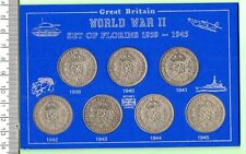 More details for 1939 -1945 seven ww ii carded silver two shilling coins