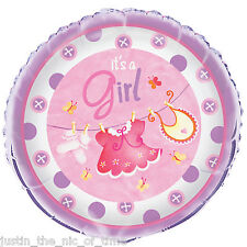 """Baby Shower GIRLS Pink Party Clothesline Helium Foil Balloon 18"""""""