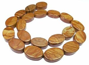 Wood Stone Beads Oval ~ 0 25/32x0 5/16in Great With Wooden Structure Gem