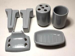 Vintage Grey Porcelain Soap Dish Toothbrush Holder Cup Bathroom Fixture Set