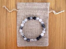 Silver Buddha, Tourmalated Quartz Beaded Semi Precious Bracelet & Jute Gift Bag