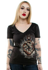 Authentic LUCKY 13 Burning Love Tattoo Heart Womens  V-Neck T-shirt L NEW