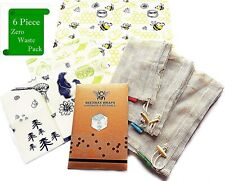 Bee's Wraps Organic Beeswax Reusable Food Cotton Mesh Storage Bags and Wraps