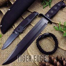 KNIFE SET   Black Tactical Bowie + Serrated Folding Blade + Paracord Bracelet