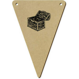 5 x 140mm 'Open Treasure Chest' Wooden Bunting Flags (BN00067936)