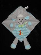 Doudou carré plat Mouton Agneau gris bleu vert rayé Nicotoy Simba Lapins brodés