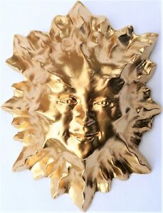 Handmade Golden Sun Wall Sculpture for Covered Patio, Porch or Deck Claybraven