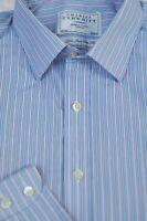 Charles Tyrwhitt Men's Blue Pink White Stripe Cotton Dress Shirt 16 x 34