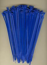 "100 7"" Inch Long 50# Pound BLUE Nylon Cable Zip Ties Ty Wraps MADE IN THE USA"