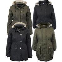 Girls Jacket Brave Soul Kids Parka School Coat Hooded Military Fur Padded Winter