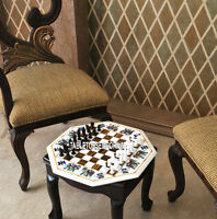 18'' Marble White Chess Coffee Center Table Top Marquetry Inlay Play Home Decor