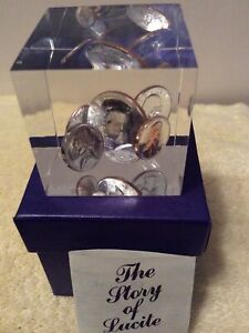 Vintage 1974 Coin Mint Set Lucite Paper Weight Cube New In Original Box