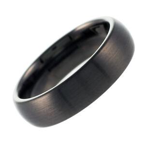 Tungsten Carbide Ring Gunmetal Wedding Engagement Band Brushed Domed 6mm