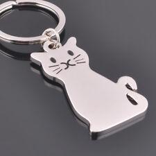 Cute Kitty Cat Kitten Metal Key Chains Keyring Key Fob Key Ring Silver Jewellery