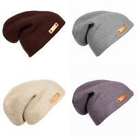 FJ- EG_ Unisex Women Men Knitted Winter Warm Woolen Yarn Beanie Hat Slouchy Cap