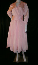 FANCY NY VTG INSPIRED PINK  SILK TEA LENGTH SIZE 8  WEDDING GOWN DRESS FORMAL
