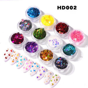 12 Boxes Nail Art UV Acrylic 3D Butterfly Shape Glitter Sequins Powder Set