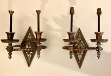 ~PAIR of Classic French Style Sconces in Copper and Silver Plated Brass/Bronze~