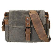 Retro Canvas Leather Trim Dslr Slr Shockproof Camera Messenger Vintage Bag