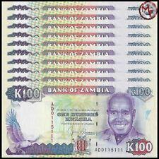 Zambia - 100 Kwacha 1991 - Pick- 34 - Set 10 PCS - UNC