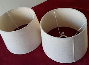 2 Lamp shades Table/Bedside Beige/Cream Fabric Drum modern Pair home Lighting