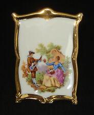 Vtg Limoges Sa Fragonard Romantic Couple Framed Porcelain W/Stand Mint
