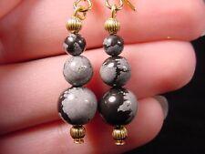 EE-472-A) gray black Snowflake Obsidian three bead gemstone dangle gold earrings