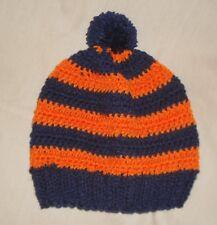 wahoos navy & orange Handmade Knit crochet Hat beanie