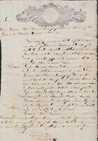 E465 MEXICO REVENUE SEALLED PAPER 1852-53 SELLO CUARTO. PAPEL SELLADO