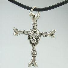"""Religious Cross Skull Skeleton Pendant 16"""" Collar Choker Short Necklace 13945"""