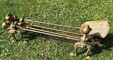 Heavy brass ball & claw feet fire dogs & Companion set