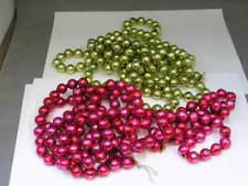 "2 Vintage Mercury Glass Bead Christmas Tree Garland Green 90"" Red 90"""