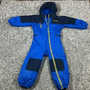 Toddler Columbia One Piece Full Zip Hooded Snowsuit Pockets Blue 4T 4 Year Old